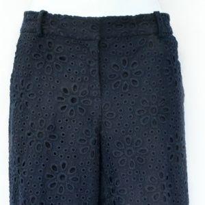 J. Crew Pants - J.Crew Navy Eyelet Lace Cafe Crop Pant